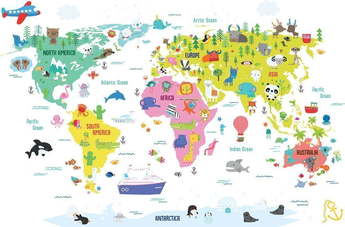 World Map with illustrations by Dawn Machell