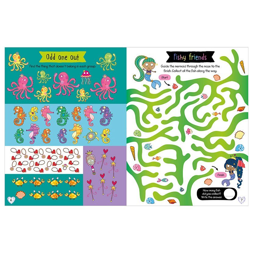 Second spread of Scratch and Sparkle Mermaids Activity Book (9781789472455)