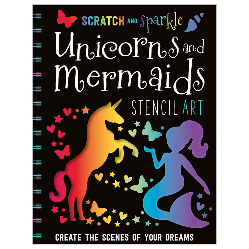 First Spread of Scratch and Sparkle Unicorns and Mermaids Stencil Art (9781786922779)