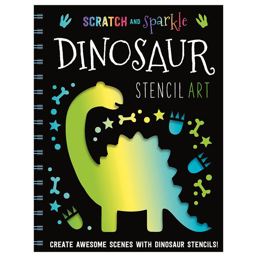 First Spread of Scratch and Sparkle Dinosaur Stencil Art (9781789470376)