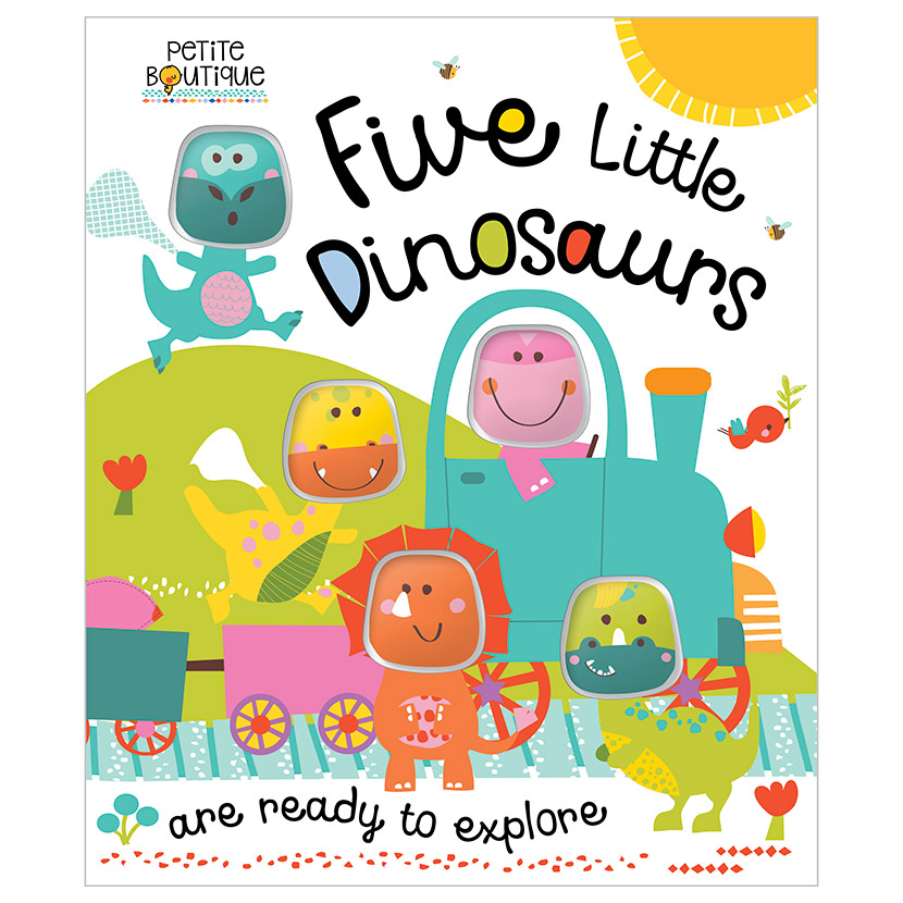 First Spread of Petite Boutique Five Little Dinosaurs (9781786921284)