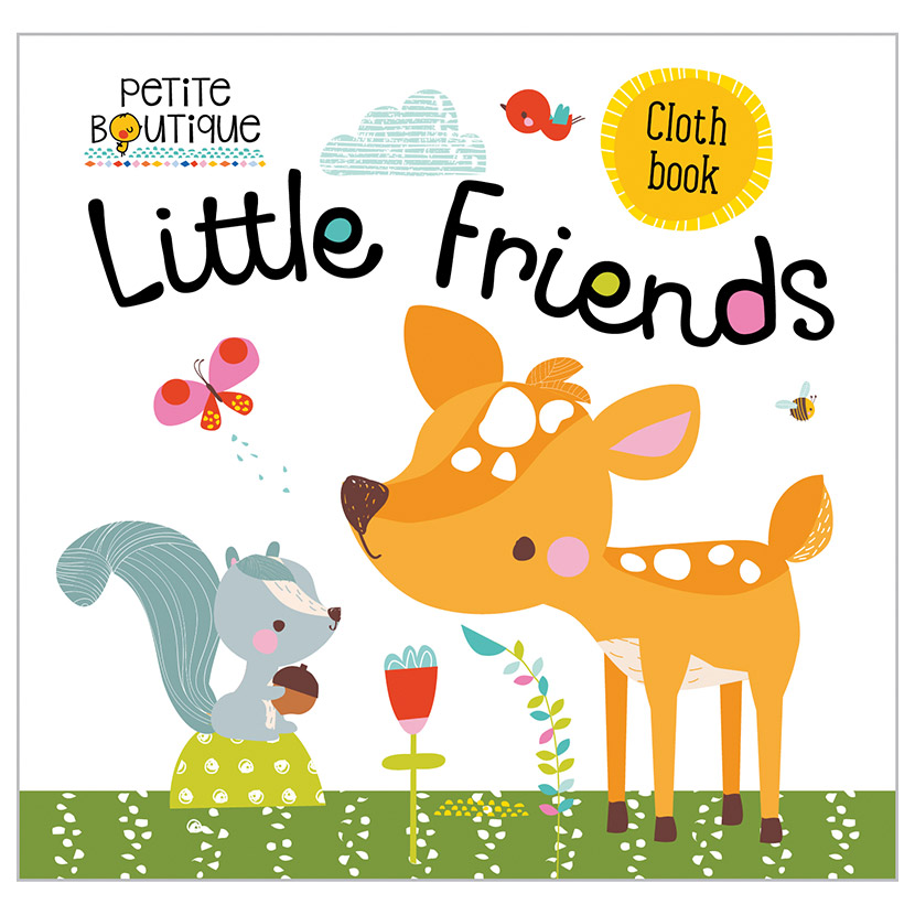 First Spread of Petite Boutique Little Friends Cloth Book (9781786924377)