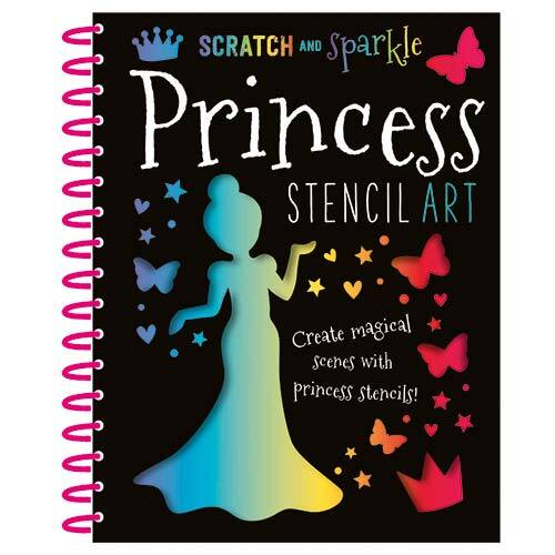 First Spread of Scratch and Sparkle Princess Stencil Art (9781785981258)