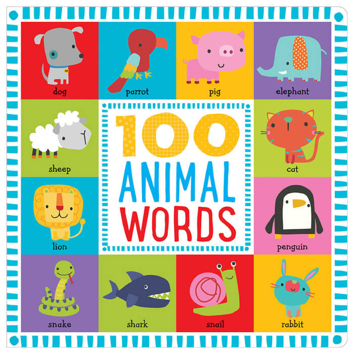 First Spread of 100 Animal Words (9781786922564)