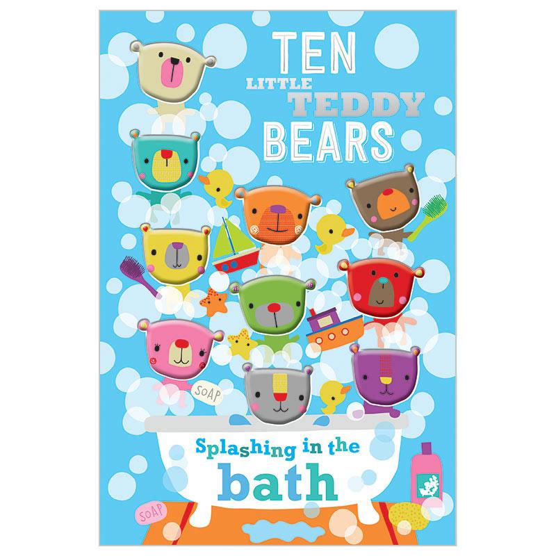 First Spread of Ten Little Teddy Bears Splashing In the Bath (9781785985102)