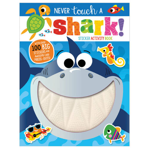 First Spread of Never Touch a Shark! Sticker Activity Book (9781789474084)