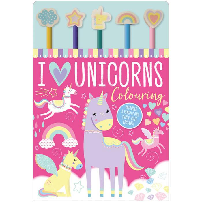 First Spread of I Love Unicorns Colouring (9781789475227)