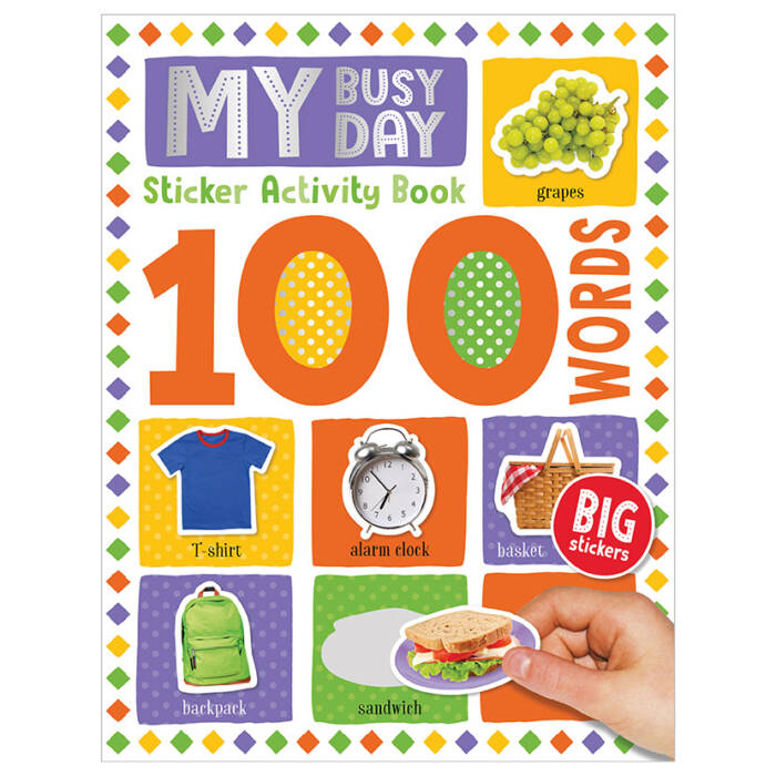 First Spread of 100 Words My Busy Day Sticker Activity Book (9781789476194)