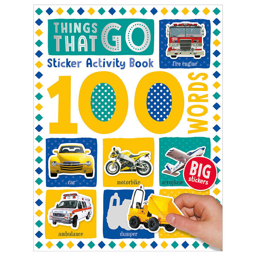 First Spread of 100 Words Things That Go Sticker Activity Book (9781789476200)