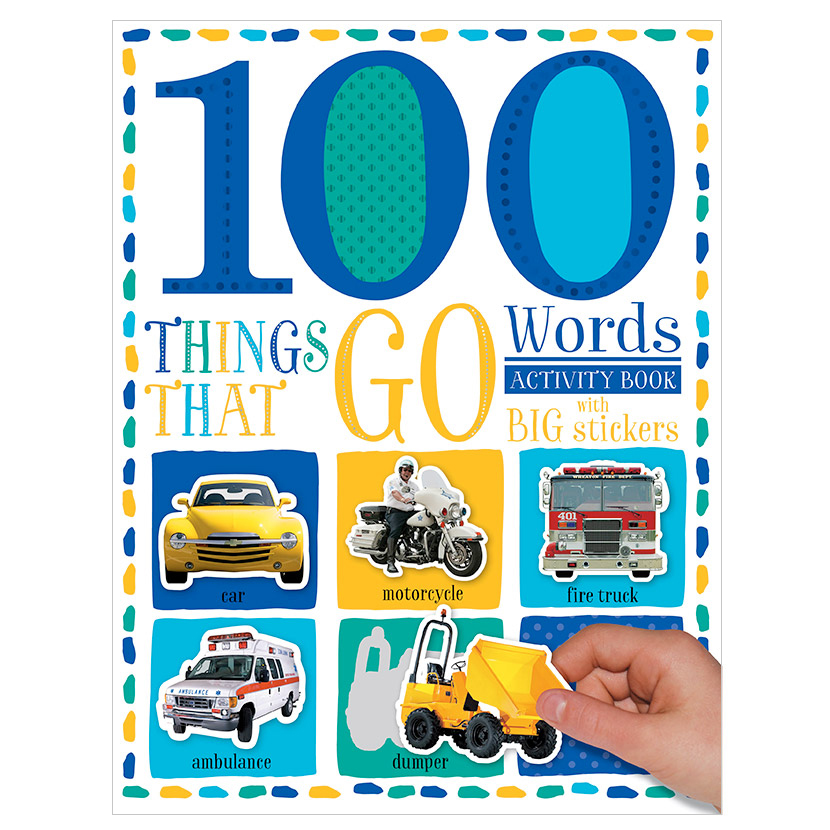 First Spread of 100 Words Things That Go Sticker Activity Book (9781786929631)