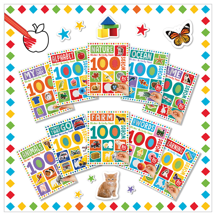 First Spread of 100 Words Sticker Activity Book 10-set (9781789476224)