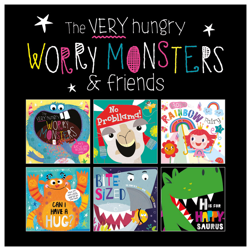First Spread of The Very Hungry Worry Monsters Picture Book set x 6 in Bag (9781800583665)